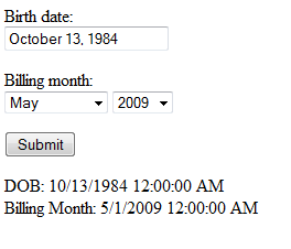 Date fields displayed
