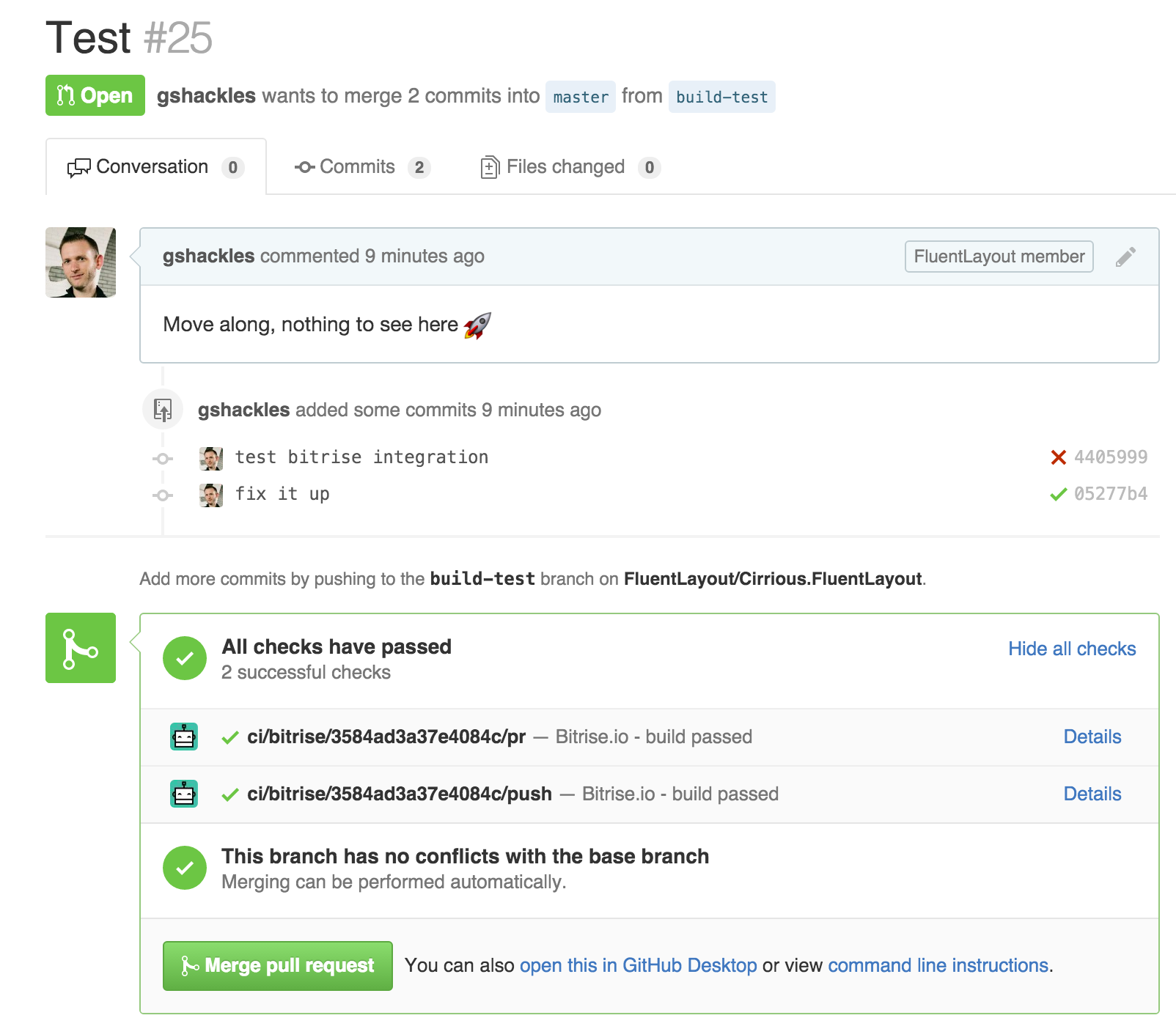 Build status in pull request