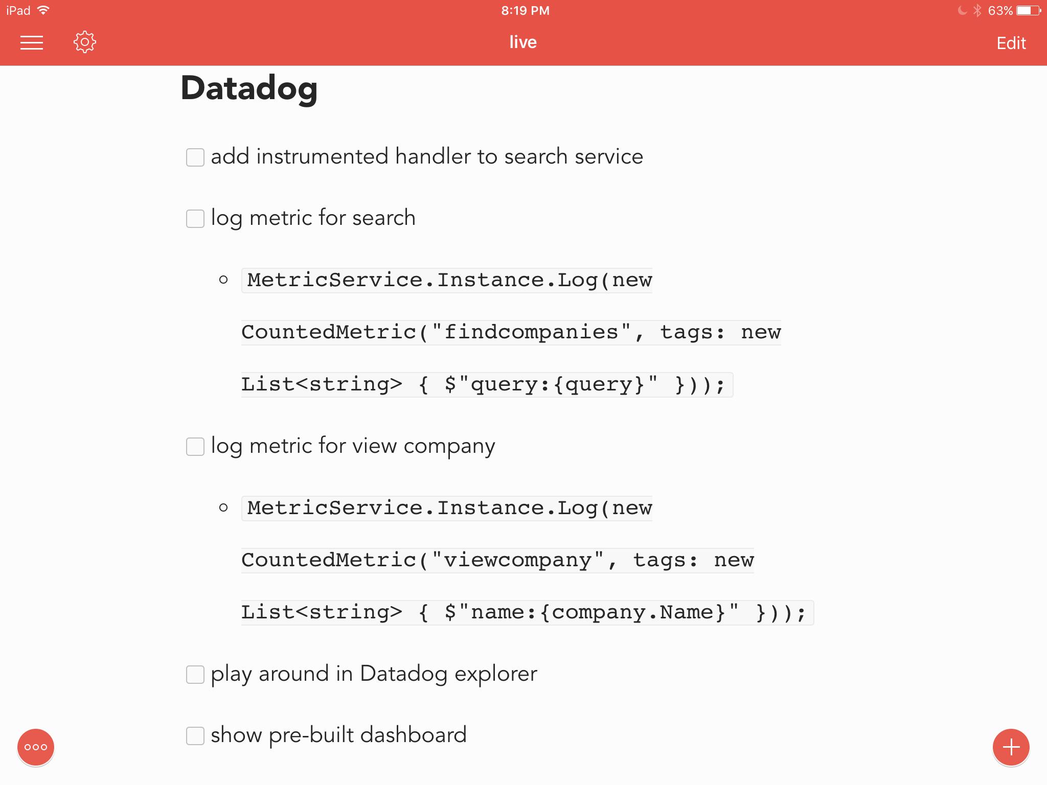 Coding checklist items